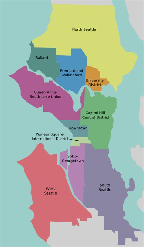 seattle map district file seattle overview v3 png wikitravel shared