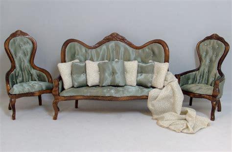 Livingroom Furnature gloucester in green custom dressed dollhouse furniture