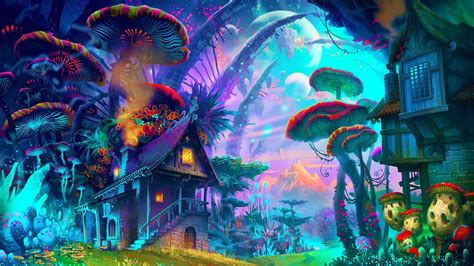 wallpaper drawing colorful mountains fantasy art