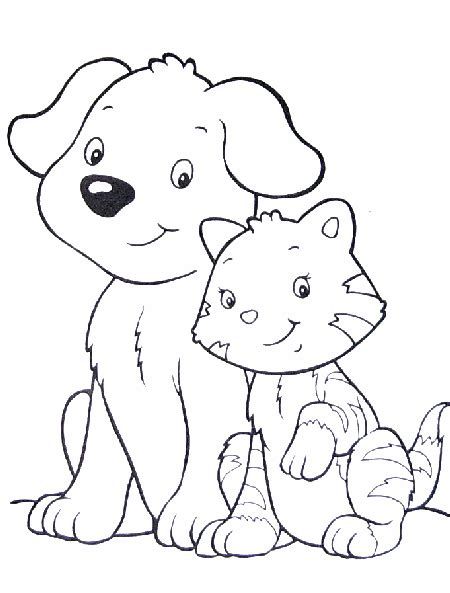 Dogs And Cats Together Coloring Pages Coloring Pages Dogs And Cats