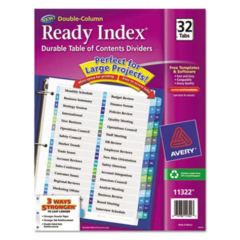 Printer Avery Ready Index Column Dividers 32 Tabs Template