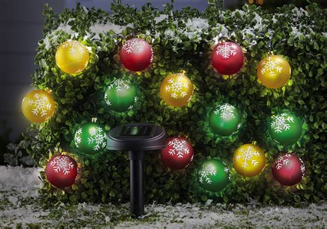 Led Solar Snowflake Ornament 15 Light String Outdoor Outdoor Lighted Ornaments