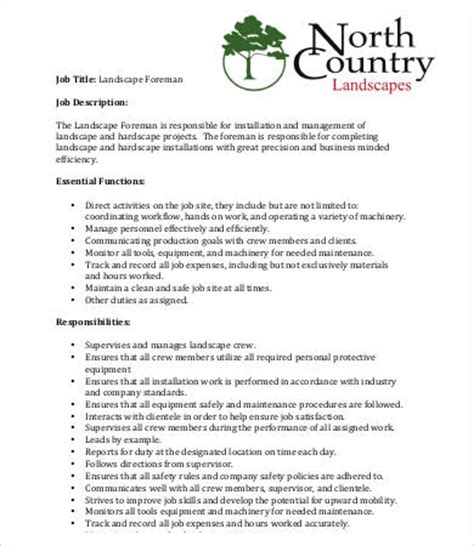 landscaping description templates 9 free word pdf