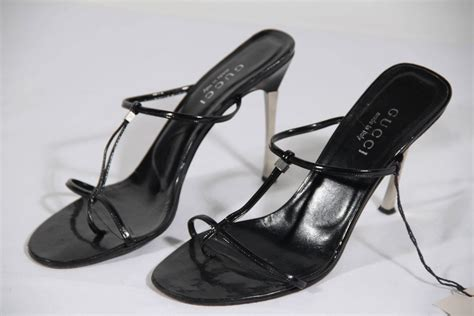 Sale Sepatu Gucci Blk Size 38 gucci black leather heeled sandals shoes w stiletto heels size 38 1 2 for sale at 1stdibs