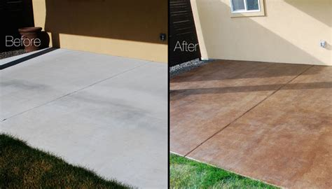 diy concrete backyard diy project how to stain a concrete patio the garden glove