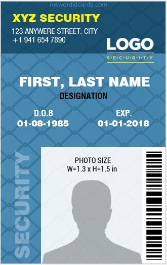 card 5 id template 4 best ms word security guard id card templates