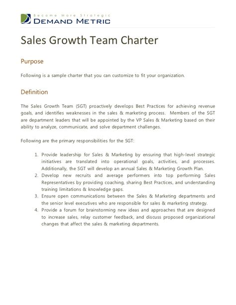 charter template for a committee sales growth team charter