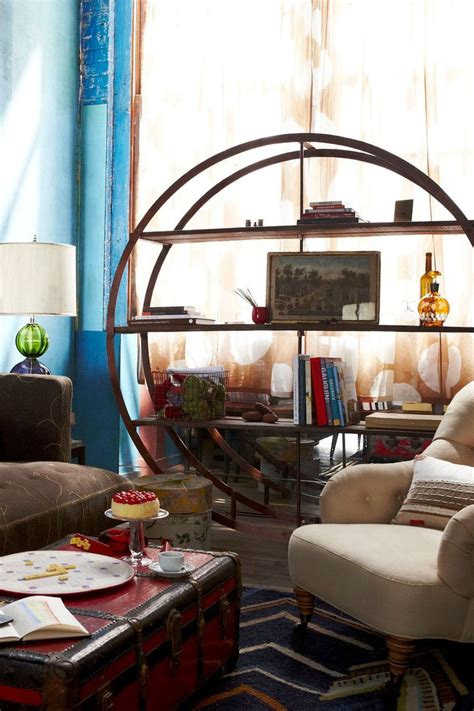 anthropologie living room blue 11 interiors round bookcase round up
