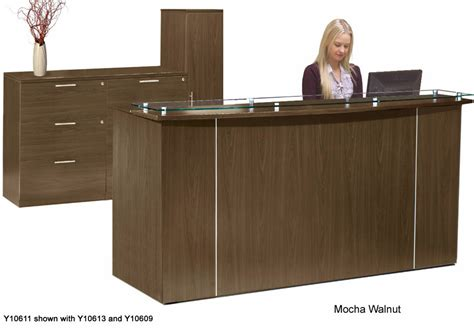 custom reception desk custom standing height glass top reception desk series 6