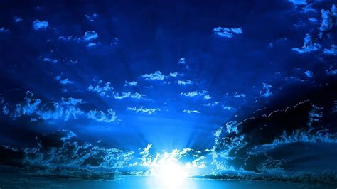 wallpaper dark blue sky nature bright light at sunset picture nr 60886
