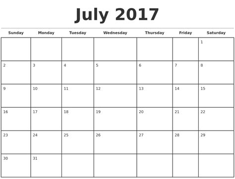 templates for monthly calendars july 2017 monthly calendar template