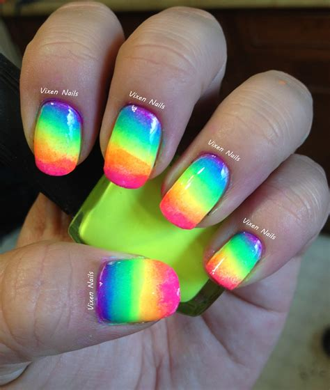 easy nail art bright colors vixen nails rainbow ombre tutorial