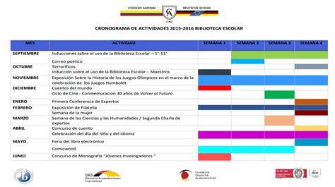 cronograma de eventos 2016 jdccppcom cronograma de actividades 2015 2016