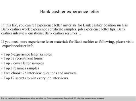 Experience Letter Cashier Bank Cashier Experience Letter