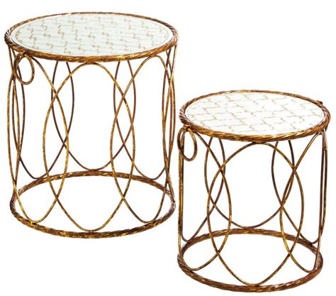 raz 25 quot gold circle nesting tables home decor home golden nesting tables with mirrored tops nesting tables
