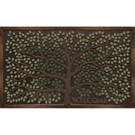 Recycled Door Mats Apache Mills Tree Welcome 22 In X 36 In Recycled Rubber