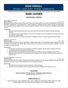 cashier resume sles bank cashier description exles of resumes for