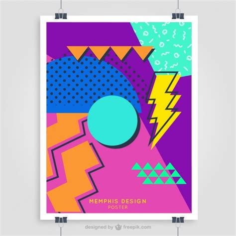 Retro 80 S Card Templates Free by Colorful 80 S Poster Template Vector Free