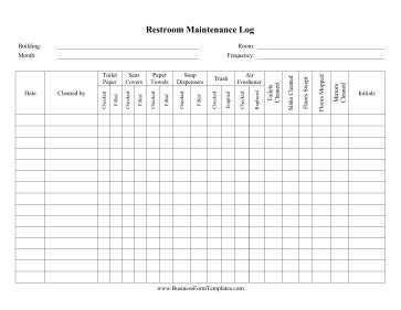 Restroom Cleaning Log Sheet Template Success   Motorcycle