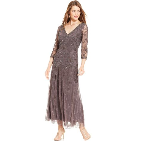 beaded gown pisarro nights threequartersleeve beaded gown in purple