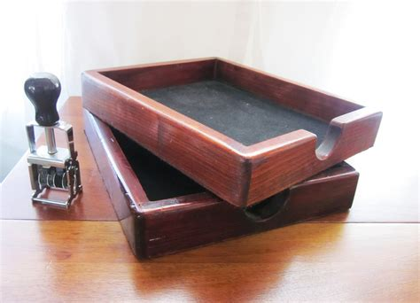 vintage wood desk paper holder file organizer by slovintage