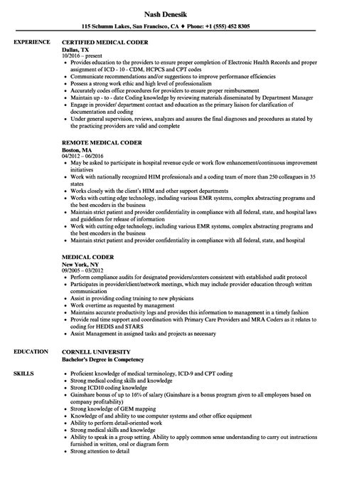 medical coder resume no experience medical coder resume sample