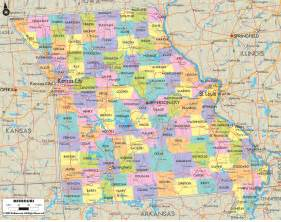 political map of missouri ezilon maps