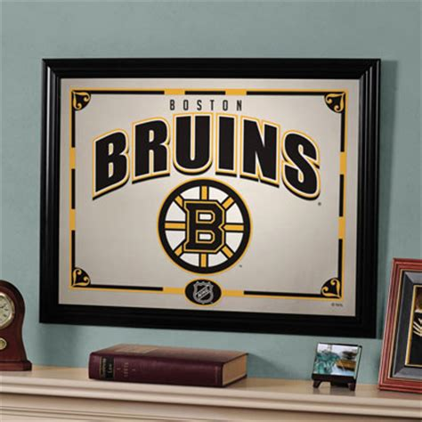 boston bruins home decor boston bruins nhl framed glass mirror