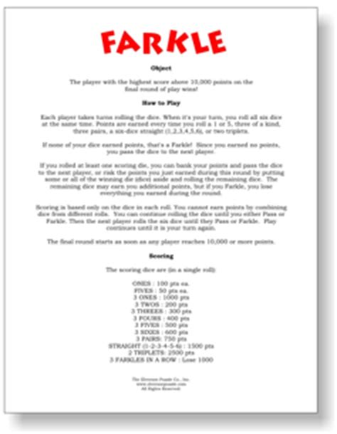 printable zilch instructions farkle rules pdf free printable rules and scoring