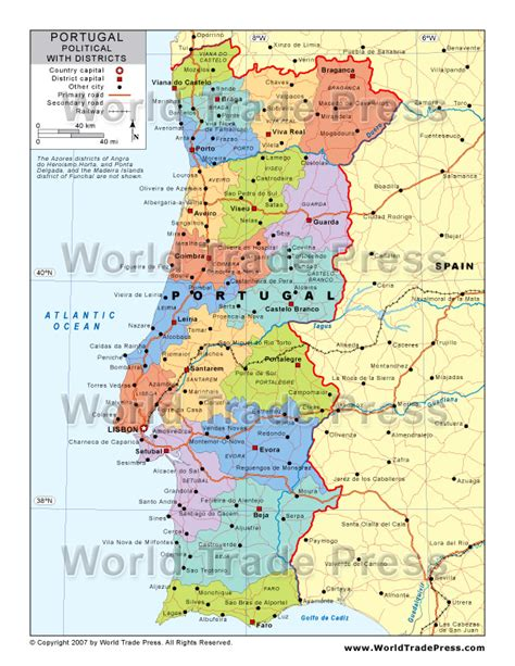printable map portugal portugal map political
