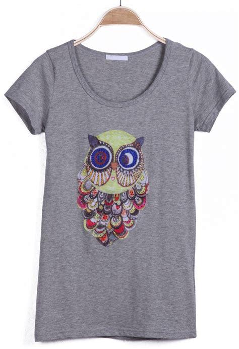 Sleeve Owl Print T Shirt grey sleeve owl print rhinestone t shirt sheinside