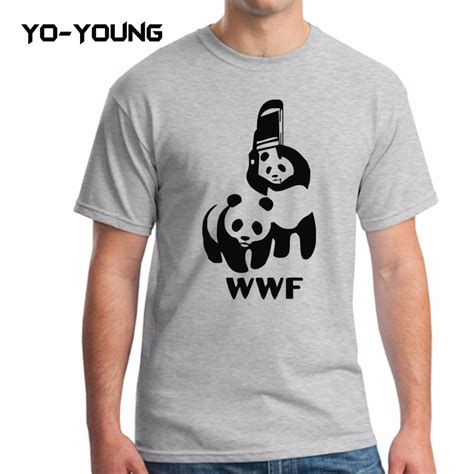 Tshirt Kaos Wwf 2 Carbonara t shirts spoof logo wwf panda design printed 100 180 gsm combed cotton casual summer