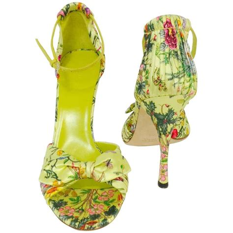Gucci Floral Heels gucci green satin floral print high heel sandals above