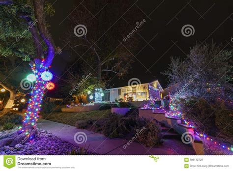 beautiful christmas lights in upper hastings ranch neighborhood stock image image of city