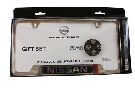 nissan plate frame genuine nissan license plate frame valve stem cap combo