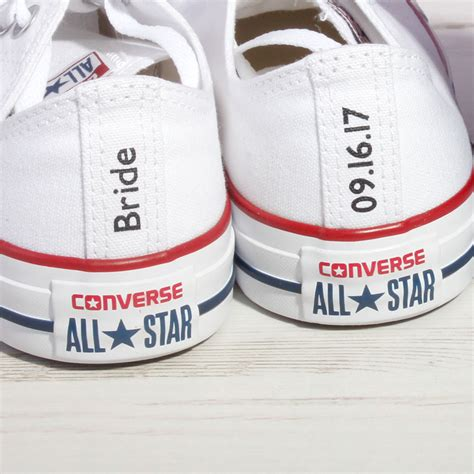 Wedding Shoes Converse by Or Groom Custom Converse Heel Tag Wedding Converse