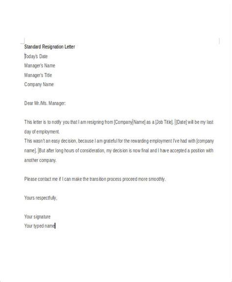 standard resignation letter sle standard letter of resignation template 28 images