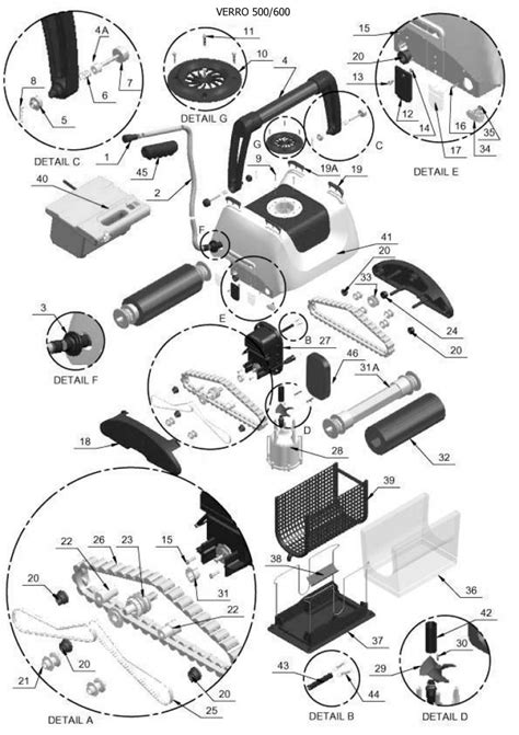 roomba parts diagram irobot verro 500 robotic pool cleaner parts