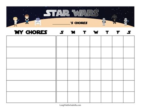 printable reward charts star wars star wars printable chore chart pictures to pin on