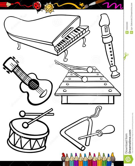 Coloring Page Instruments by Instruments Coloring Page Royalty Free Stock
