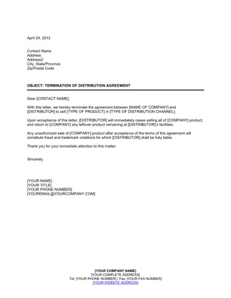 termination letter format for leave and license agreement termination of distribution agreement template sle