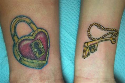 heart lock and key couple tattoo designs sheplanet