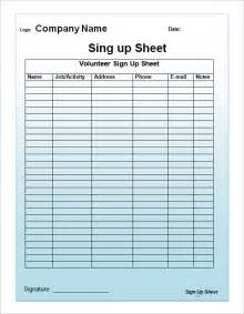 Free Template For Sign Up Sheet by Sign Up Sheet Template 13 Free Documents In