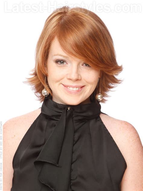 shaping back of hair to flipin with a layer cut flip out gorgeous layered auburn style with side flip a
