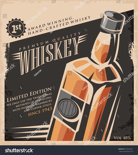 Tudor Style Wallpaper whiskey vintage poster design template retro stock vector