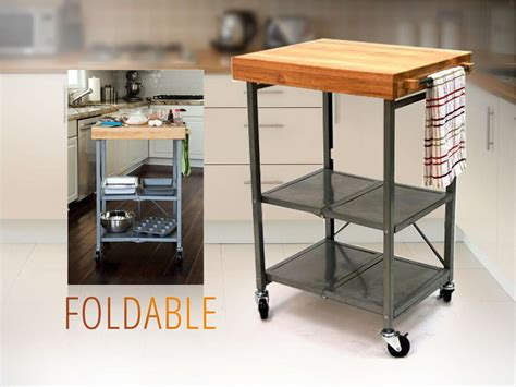 origami folding kitchen island cart origami foldable island kitchen cart w grey frame oem