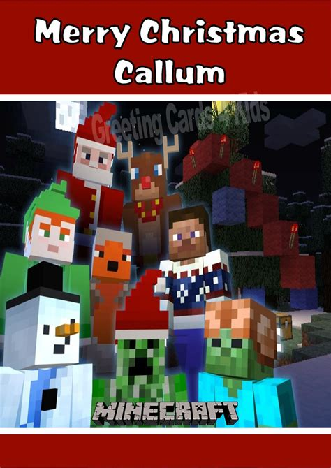 Minecraft Gift Card Price - personalised minecraft christmas card design 2