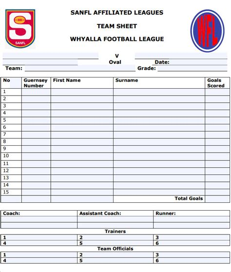 Football Team Sheet Template 5 Free Pdf Documents Download Free Premium Templates Soccer Roster Template