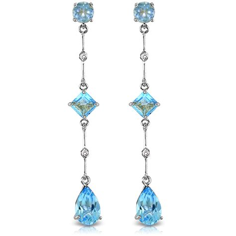Blue Topaz Chandelier Earrings 14k Solid White Gold Chandelier Earrings Withdiamond Blue Topaz Ebay