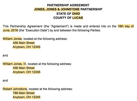 format of partnership agreement standard partnership agreement